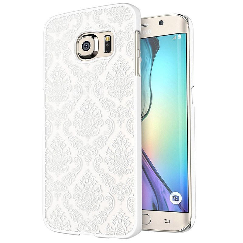 Coque DAMASK FLORA Samsung Galaxy S6 Edge Blanc