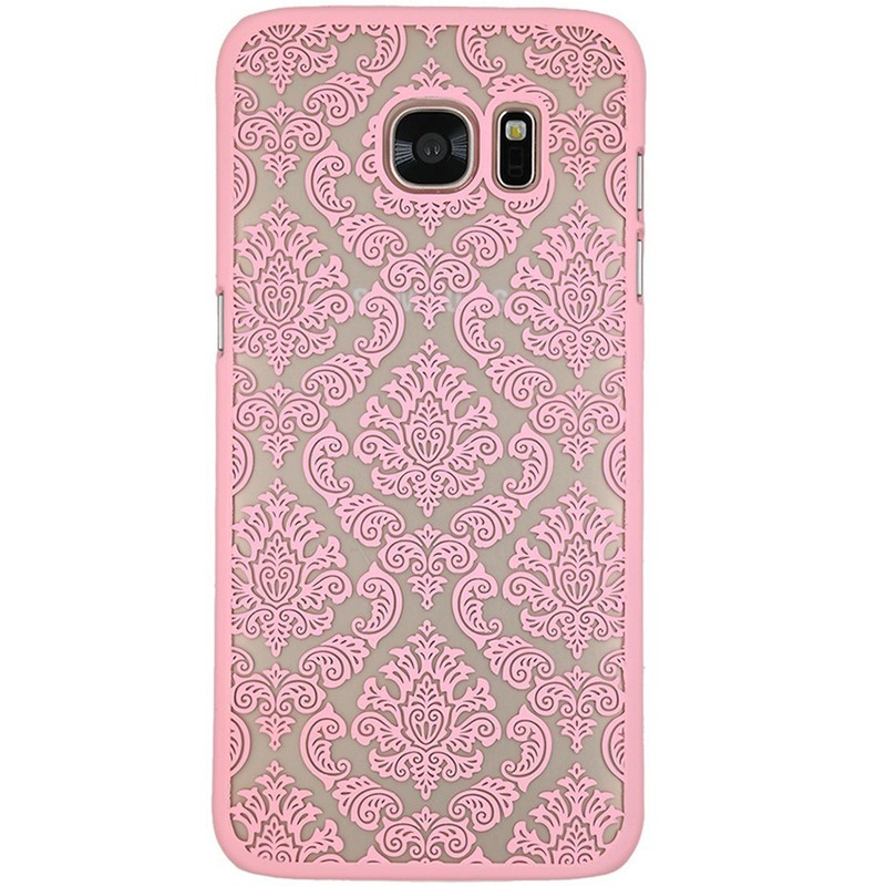 Coque rigide DAMASK FLORA Samsung Galaxy S7 Edge Rose clair