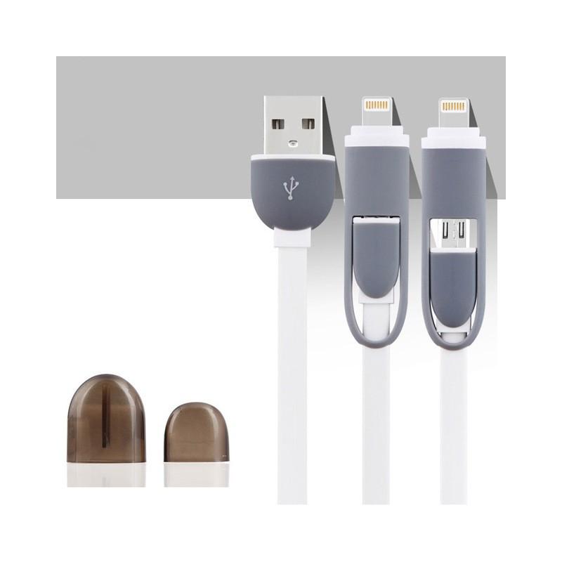 Câble USB 2-en-1 Lightning-microUSB Blanc