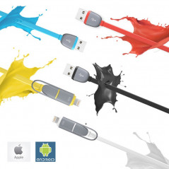 Câble USB 2-en-1 Lightning-microUSB