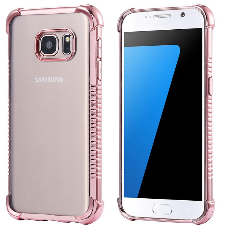 Coque silicone gel PLATING FRAME Samsung Galaxy S7 Or Rose