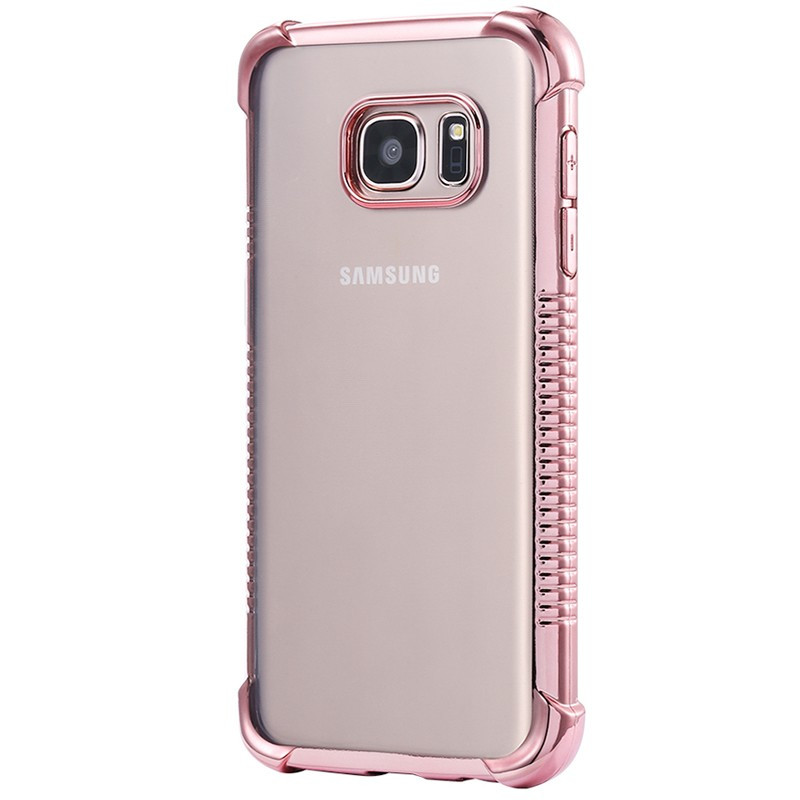 Coque silicone gel PLATING FRAME Samsung Galaxy S7 Edge Or Rose