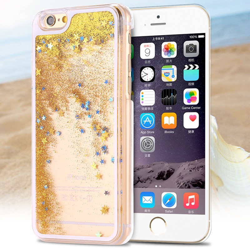 Coque Pailletée Quicksand Star Apple iPhone 6/6S Or