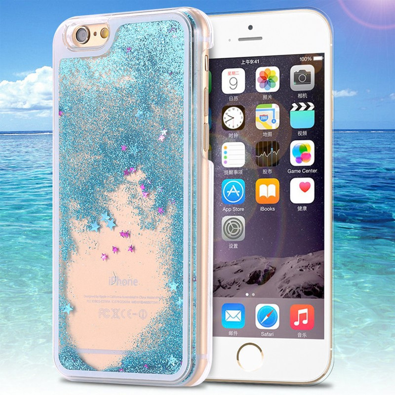 Coque Pailletée Quicksand Star Apple iPhone 6/6S Plus Bleu