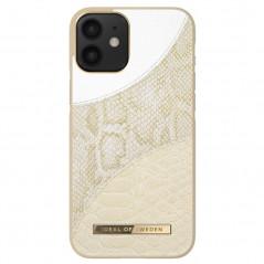 Coque rigide iDeal of Sweden Cream Gold Snake Apple iPhone 12 MINI