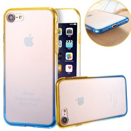 Coque silicone gel GRADIENT Apple iPhone 7 Jaune-Bleu