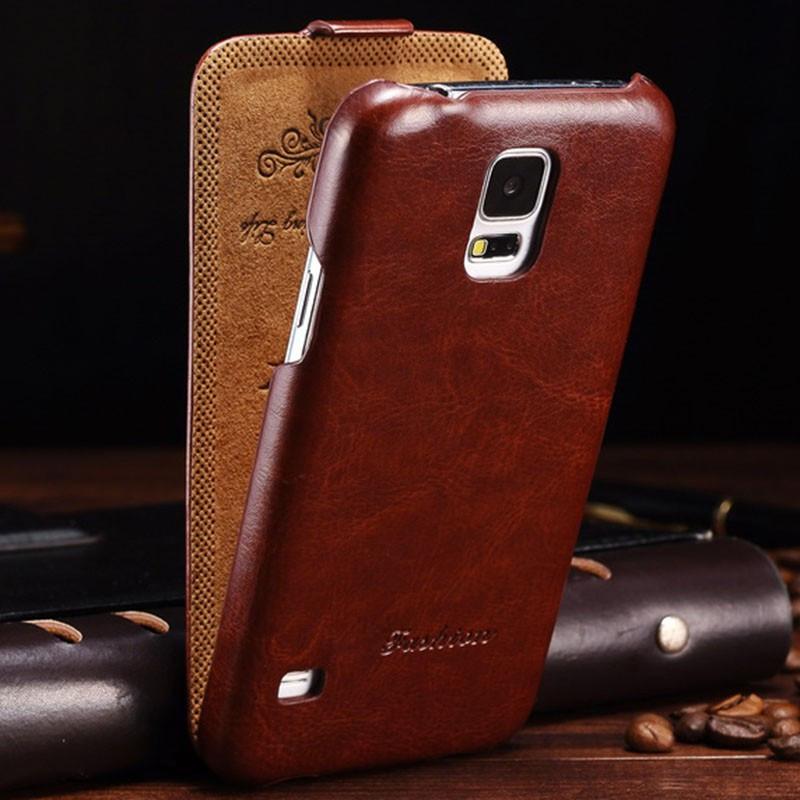 Etui flip Vintage Samsung Galaxy S5 Marron