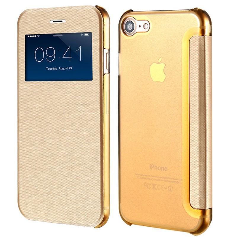 Étui folio ultra-fin à fenêtre Apple iPhone 7 Or