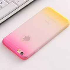 Coque silicone gel GRADIENT Apple iPhone 6/6S Plus Rose-Jaune
