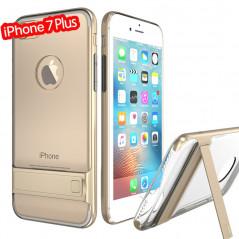 Coque bimatière transparente avec béquille Apple iPhone 7 Plus Or