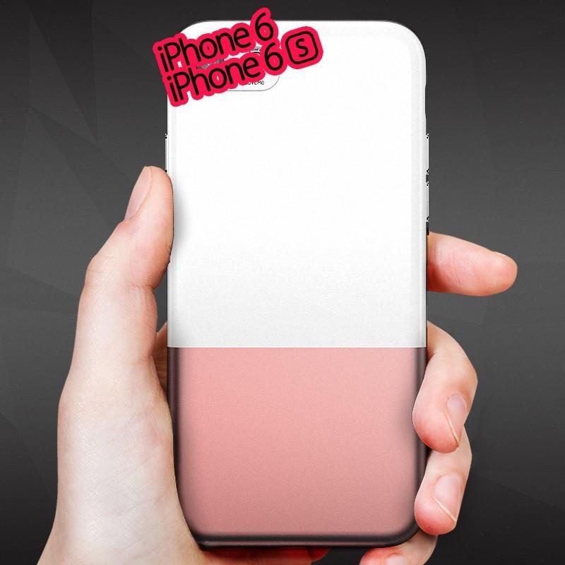Coque rigide Floveme Contrast Color Apple iPhone 6/6S Blanc-Or Rose