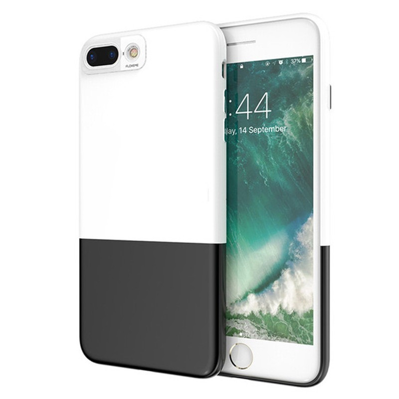 Coque rigide Floveme Contrast Color Apple iPhone 7 Plus Blanc-Noir