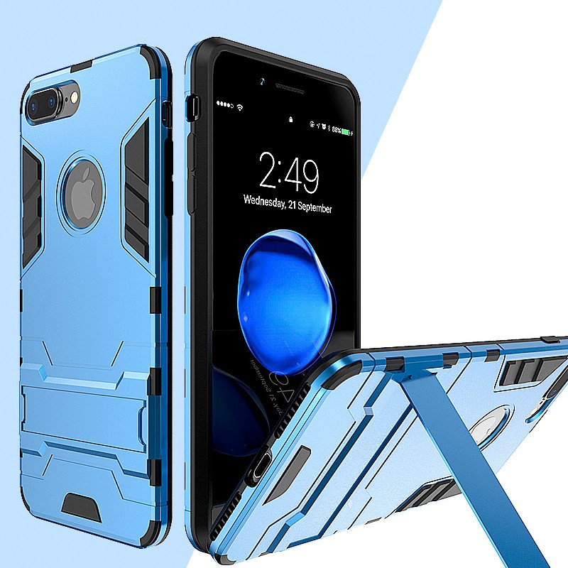 Coque Dual Layer Hybrid avec béquille Apple iPhone 7 Plus Bleu