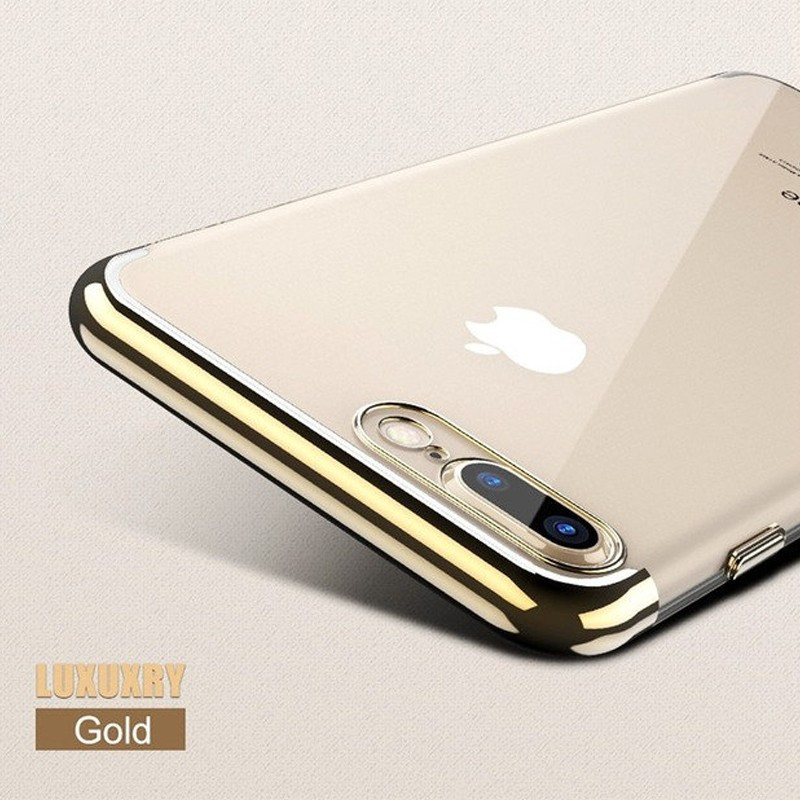 Coque silicone gel contour métallisé Apple iPhone 7 Plus Or