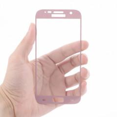 Protection écran verre trempé intégrale avec contour Samsung Galaxy S7 Or Rose