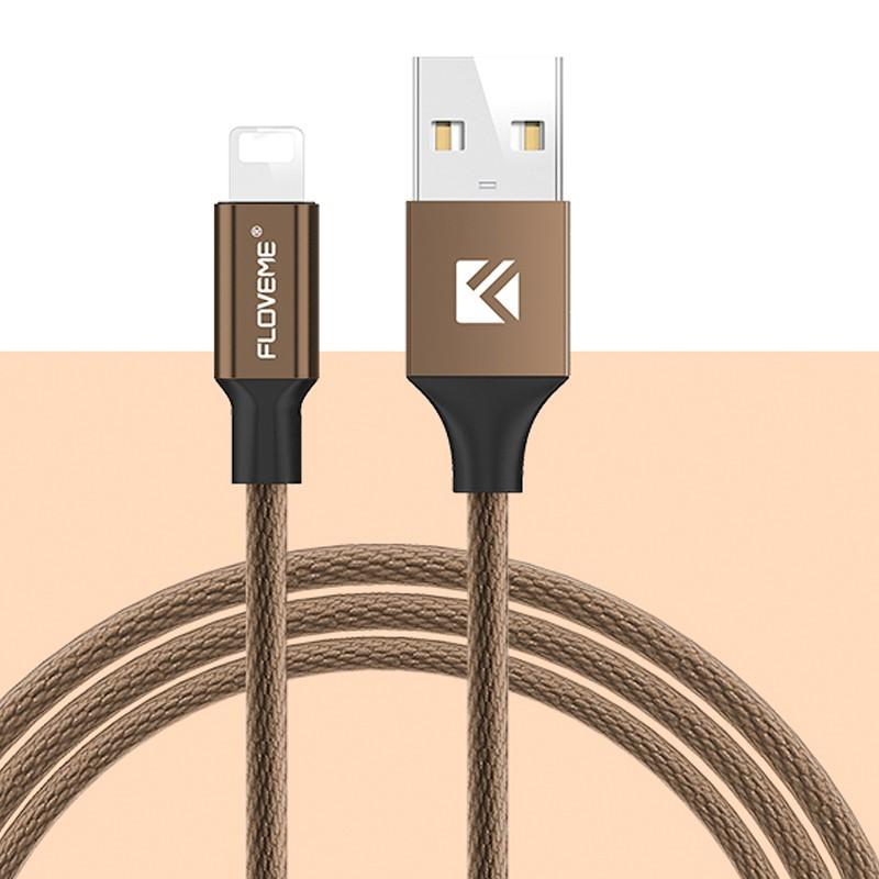 Câble Lightning 1.20mt Floveme Nylon tressé Marron