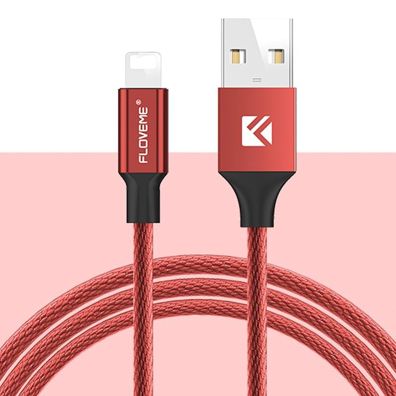 Câble Lightning 1.20mt Floveme Nylon tressé Rouge