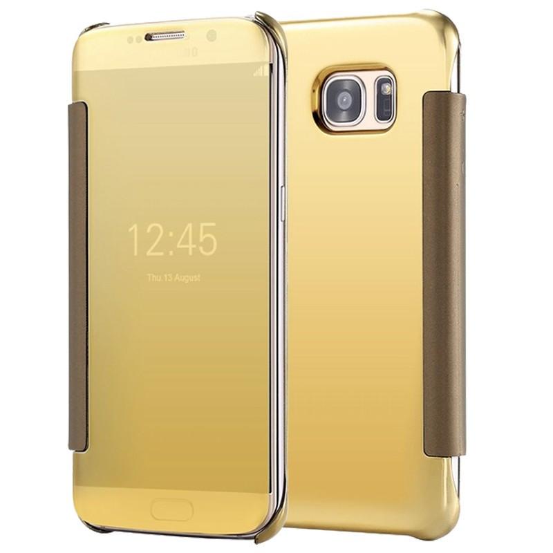 Etui folio Mirror Clear View Samsung Galaxy S7 Edge Or