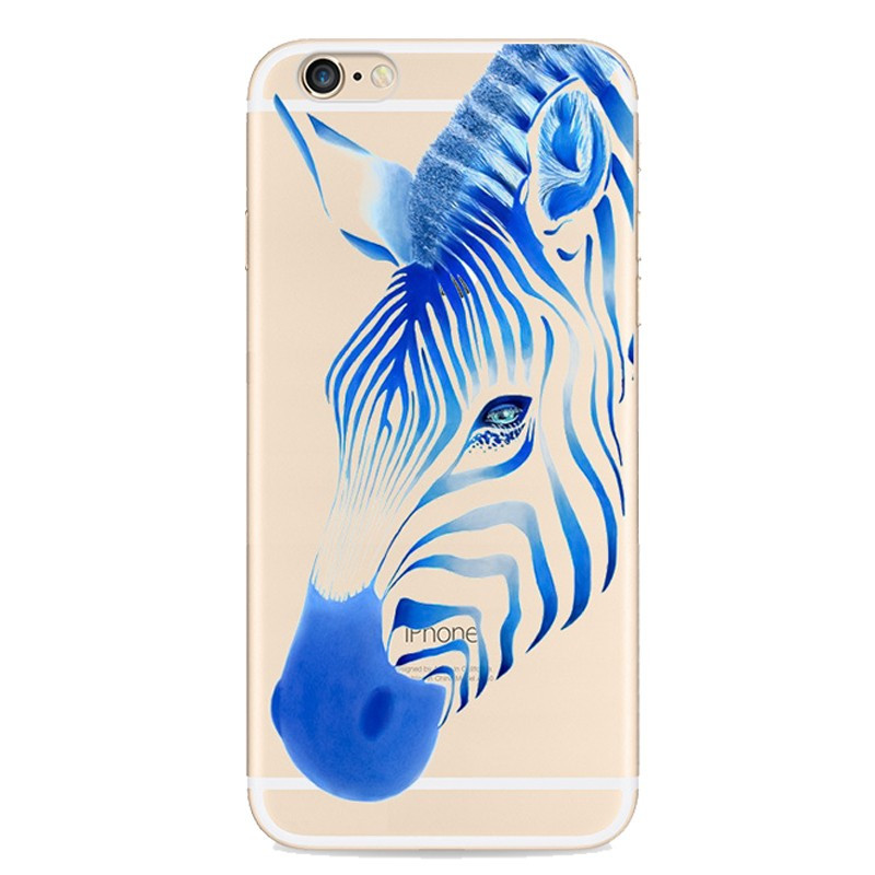 Coque silicone gel ZEBRA PAINTING Apple iPhone 6/6S Bleu