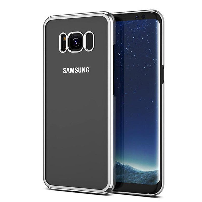 Coque rigide transparente contours metallisés Samsung Galaxy S8 Argent