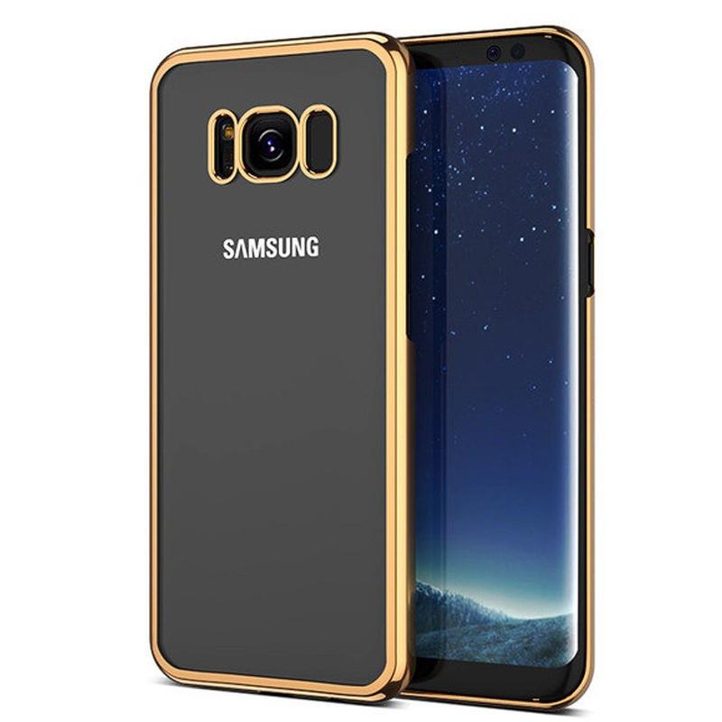 Coque rigide transparente contours metallisés Samsung Galaxy S8 Plus Or