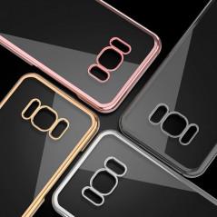 Coque rigide transparente contours métallisés Samsung Galaxy S8 Plus