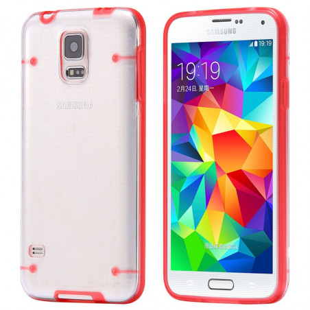 Coque transparente Luminious Samsung Galaxy S5 Rouge