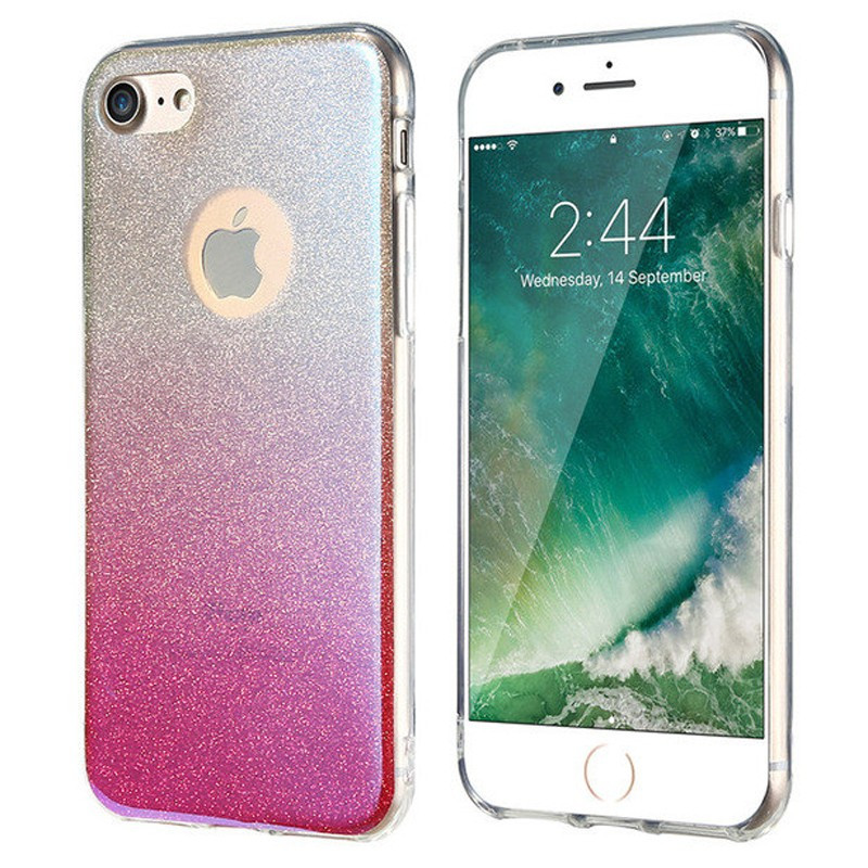 Coque silicone gel ultra pailletée Apple iPhone 7 Rose