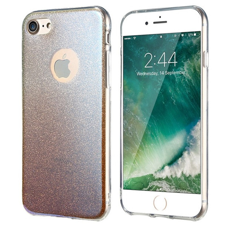 Coque silicone gel ultra pailletée Apple iPhone 7 Or