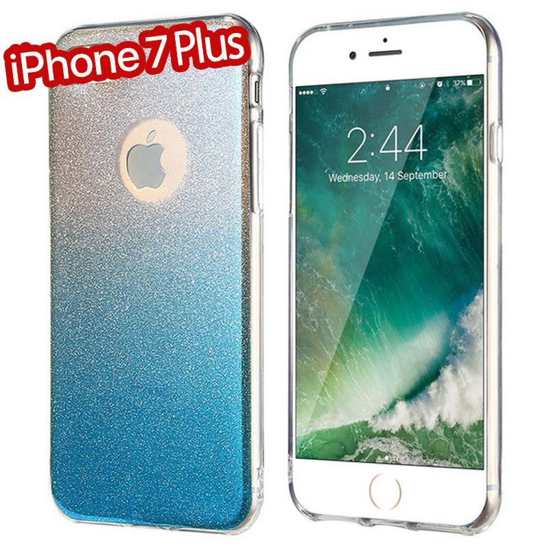 Coque silicone gel ultra pailletée Apple iPhone 7 Plus Bleu
