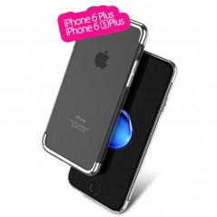 Coque rigide transparente contours métallisés Apple iPhone 6/6S Plus Argent