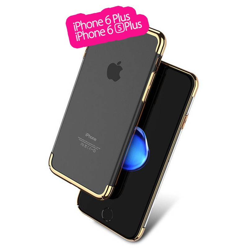 Coque rigide transparente contours métallisés Apple iPhone 6/6S Plus Or