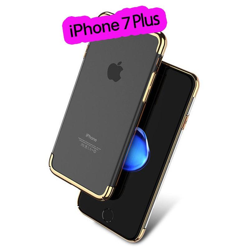 Coque rigide transparente contours métallisés Apple iPhone 7 Plus Or