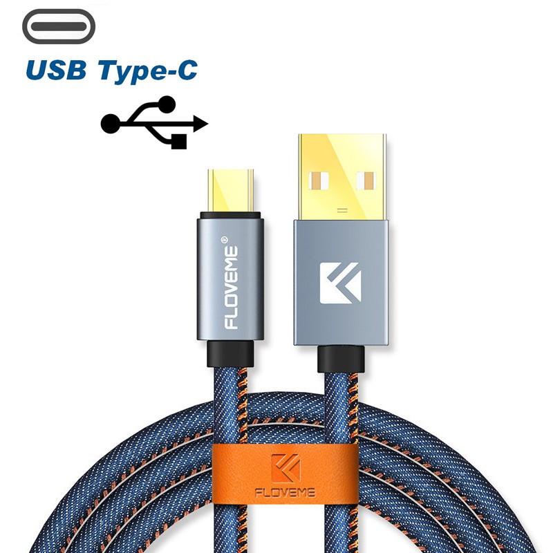 Câble USB type-C 1mt Floveme Denin Texture Bleu
