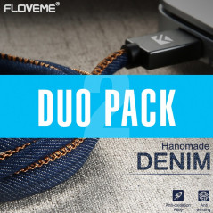 DUOPACK Câble Lightning 1mt Floveme Denim Texture