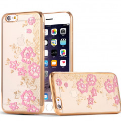 Coque silicone gel FLOWERS Apple iPhone 6/6S Plus Rose