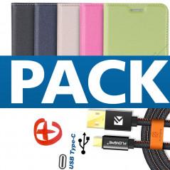 Pack Etui folio Floveme Geometric + Câble USB type-C Samsung Galaxy S8