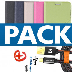 Pack Etui folio Floveme Geometric Series + Câble USB type-C Samsung Galaxy S8 Plus