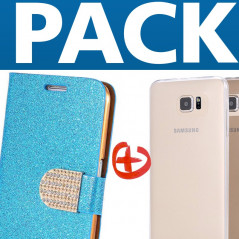 Pack Etui folio Strass Diamant + Coque gel Second Skin Samsung Galaxy S6