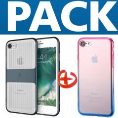 Coque LUGGAGE TRAVELLING + Coque silicone gel GRADIENT Apple iPhone 7/8