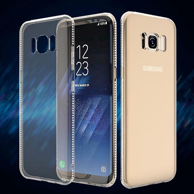 Coque souple Floveme Crystal contours strass Samsung Galaxy S8 Clair
