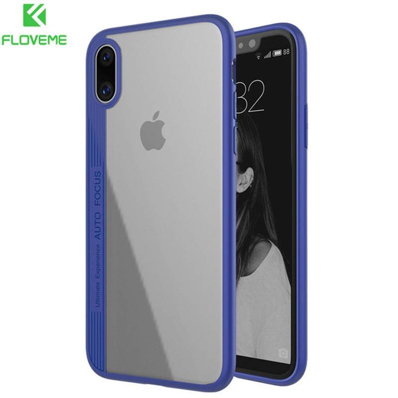 Coque rigide FLOVEME ultra-Clear contours Bumper antichoc Apple iPhone X Blue