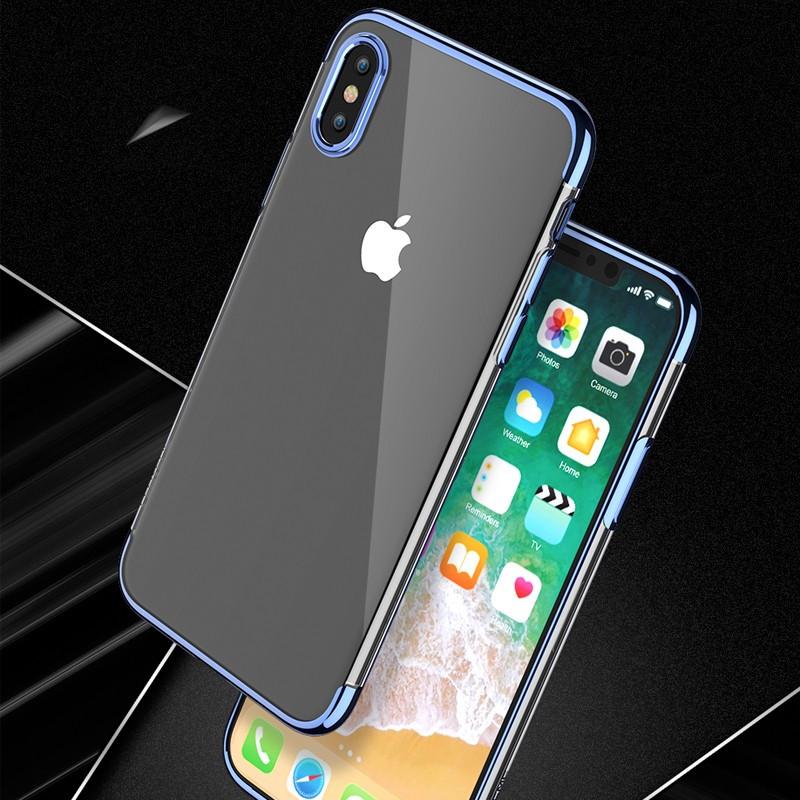 Coque silicone gel FLOVEME 3D Plating contour métallisé Apple iPhone X Bleu