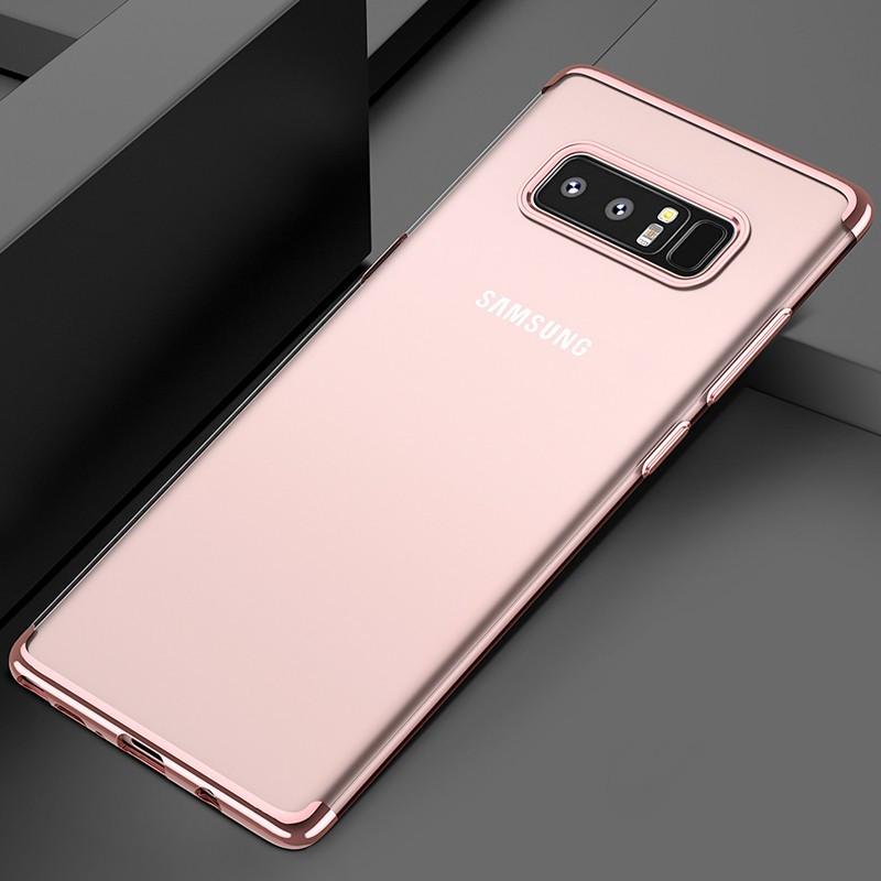 Coque silicone gel FLOVEME 3D Plating contours métallisé Samsung Galaxy Note 8 Or Rose