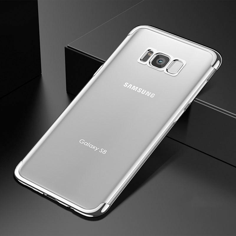 Coque silicone gel FLOVEME 3D Plating contours métallisé Samsung Galaxy S8 Argent