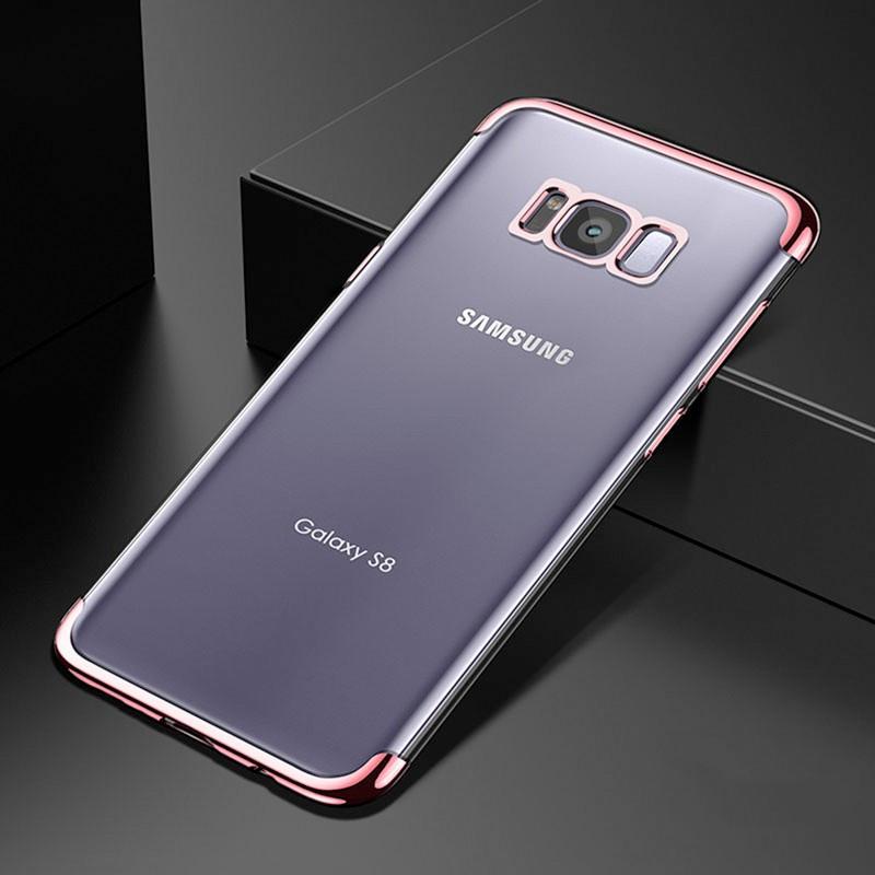 Coque silicone gel FLOVEME 3D Plating contours métallisé Samsung Galaxy S8 Plus Or Rose
