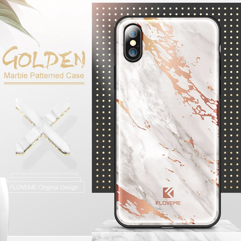 Coque rigide FLOVEME Effet Marbré Apple iPhone X Blanc