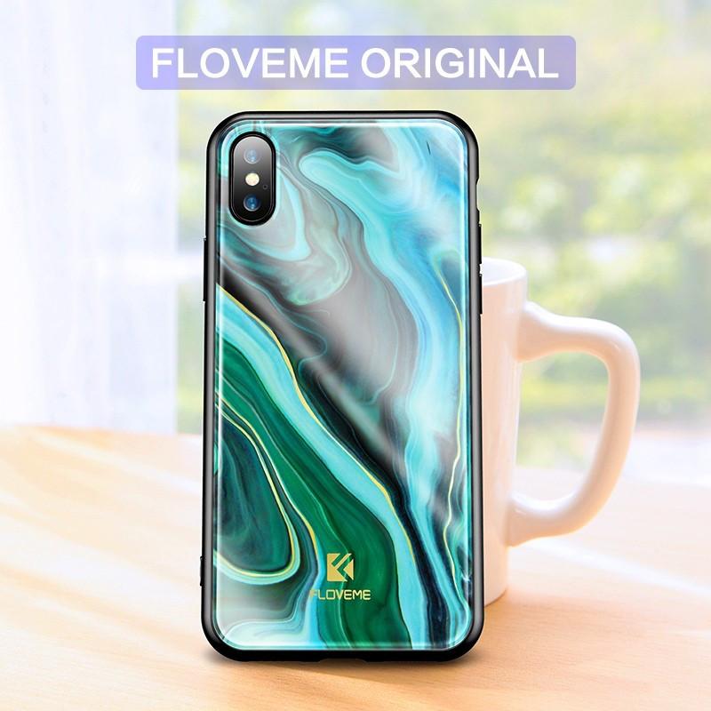 Coque rigide FLOVEME Agate Series Apple iPhone X Bleu