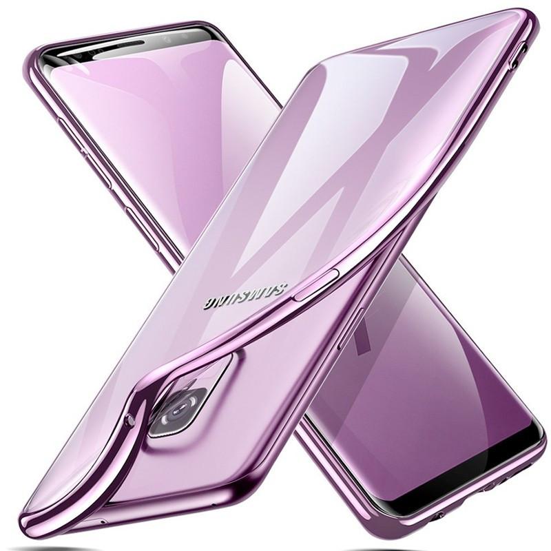 Coque silicone gel ESR 3D Plating contours métallisés Samsung Galaxy S9 Violet