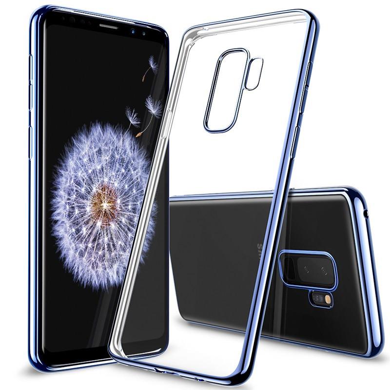 Coque silicone gel ESR 3D Plating contours métallisés Samsung Galaxy S9 Plus Bleu